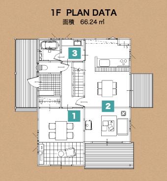 北上展示場2階建のloafea1階の間取り図