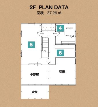 北上展示場2階建のloafea2階の間取り図